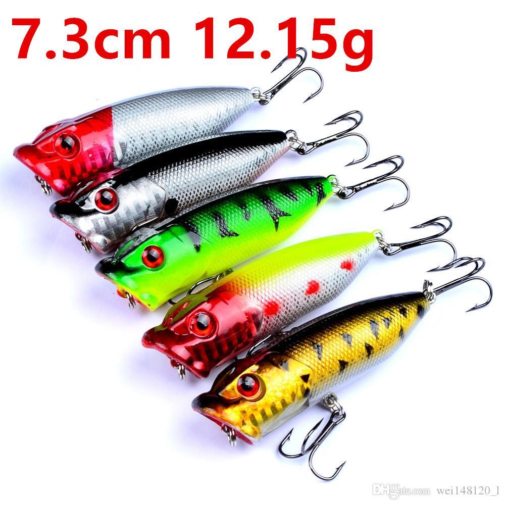 5 Color 7.3cm 12.15g Popper Fishing Hooks Fishhooks 6# Hook Hard Baits & Lures Fishing Tackle f-001