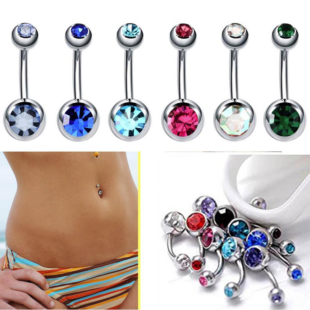 Multicolor Edelstahl Bauchn Ringe einzelner Kristall Strass Nabel Nagel Nabelring Nabel-Piercing Ombligo 5 / 8mm Kugel Nombril