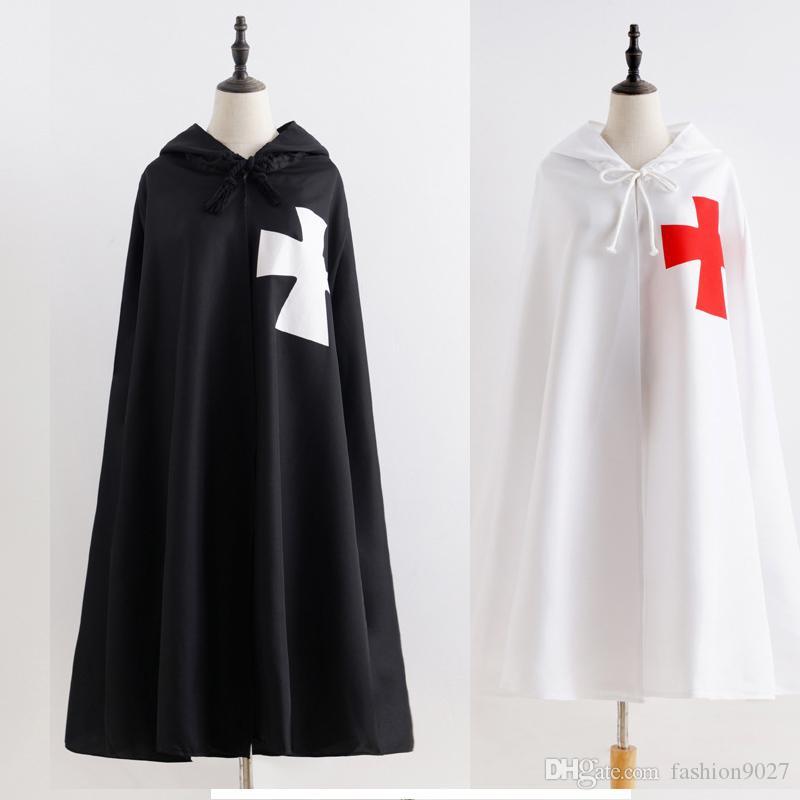 Envío libre cosplay para adultos de Halloween Roma medieval católica Templarios Guerra de los cruzados de vestuario Capa del traje de la túnica camisa de traje