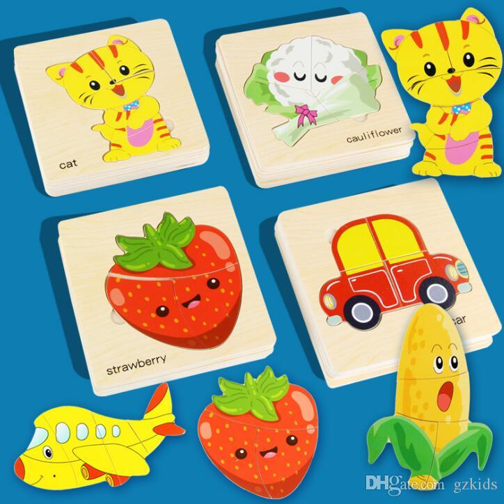 Kids 3D Puzzles Jigsaw Wooden Toys For Children Cartoon Animal Traffic Puzzles Intelligence Children Early Educational Toys Training Toy