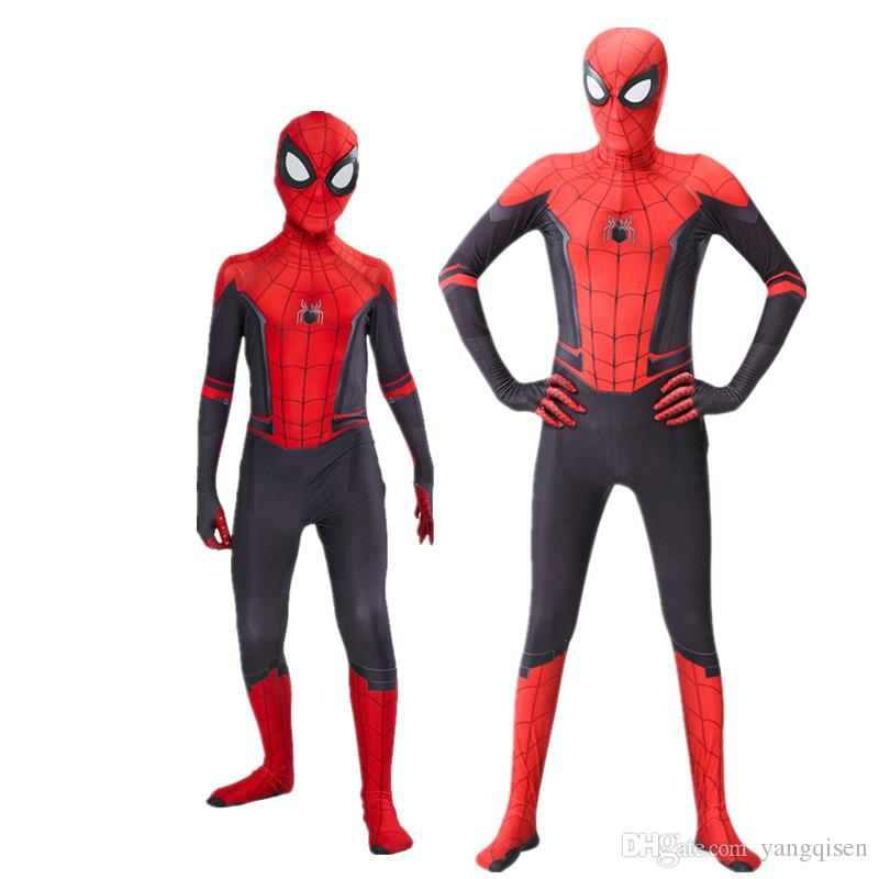Взрослые дети Человек-паук вдали от дома Питер Паркер Косплей Костюм Zentai Spiderman Superhero Боди Костюм Комбинезоны