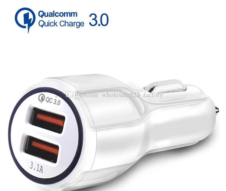빠른 삼성 태블릿에 대한 전화 충전기를 충전 최고 품질 QC 3.0 빠른 자동차 충전 3.1A 급속 충전 자동차 충전기 듀얼 USB