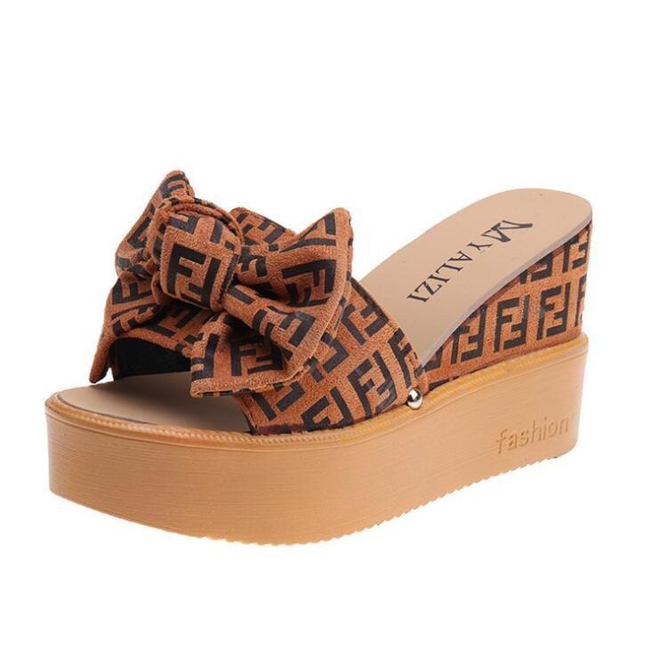 Cuneo della piattaforma Pantofole Tacchi alti Donne Slipper signore Shoes Cork Butterfly-nodo Zeppe Slipper flip flop sandali Marrone Nero Beige