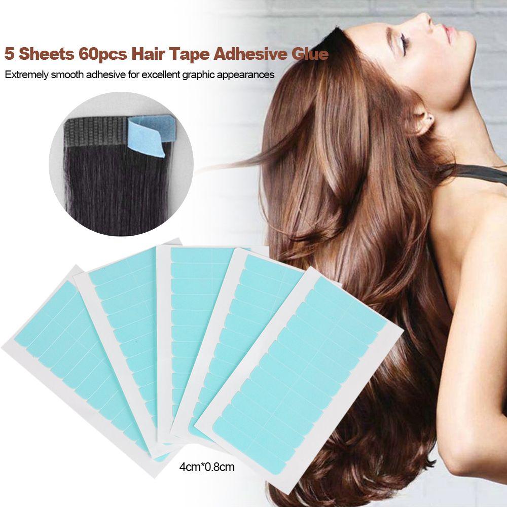 5 hojas 60 piezas 4cm * 0.8cm CPAM de SUPER pelo de la cinta cinta adhesiva de doble cara por el pelo humano de Remy, herramientas para la extensión del pelo