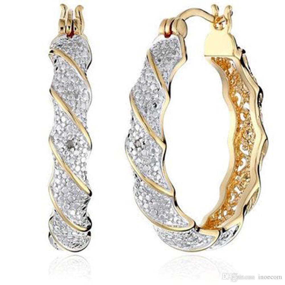 Yeni Tasarımcı Kristal Rhinestone Küpe Kadınlar Altın Şerit Hoop Küpeler Moda Takı Küpe Kadınlar Için