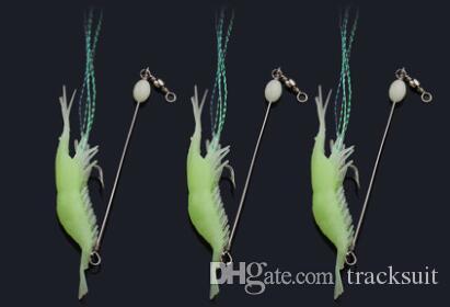 مجموعة # 4444 ويا لينة الروبيان مضيئة الكترونية وهمية مل 3pcs الطعم الطعم الصيد مضيئة الحبار الطعم blackfish