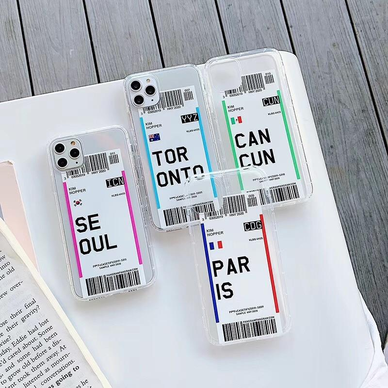 Creative Air Ticket Case For iPhone 11 pro max xr Country London Paris Tokyo New York Houston Chicago Transparent Anti-Fall Soft Cover