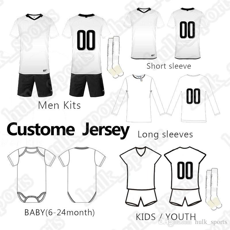 Personalizado de Futebol kit bebê homens garoto terno camisa de manga longa curta futebol jerseys filhos adultos