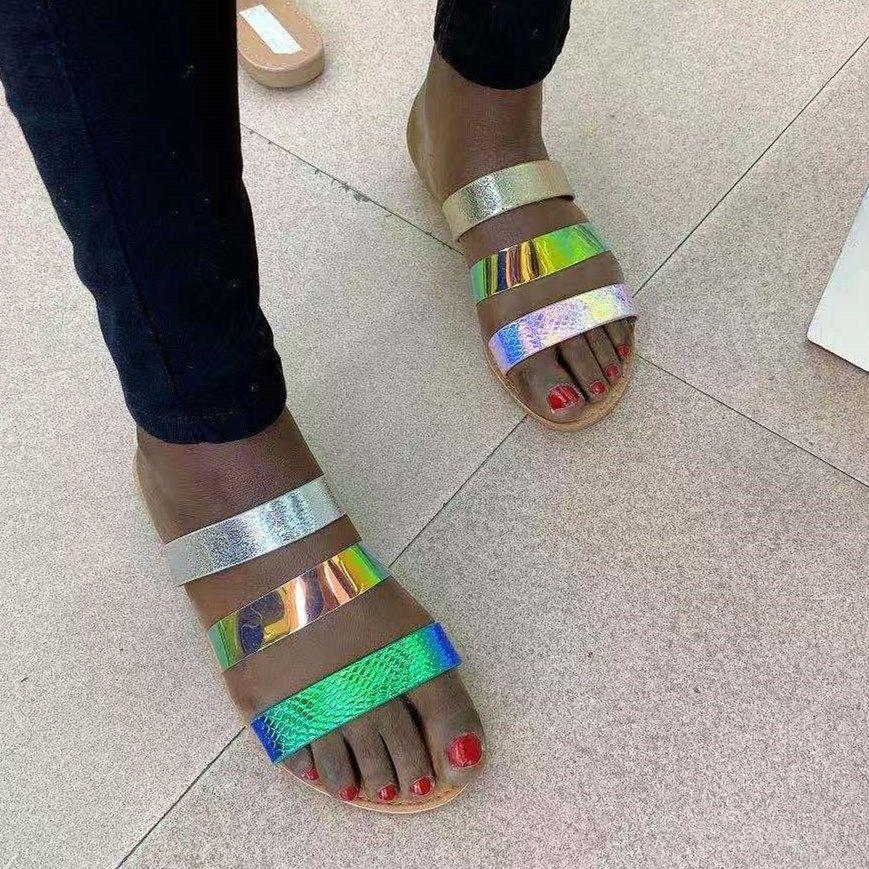 Новый летний пляж флип-флоп женщина плоские сандалии 2020 летняя обувь женщина пляжные сандалии многоцветной тапочки