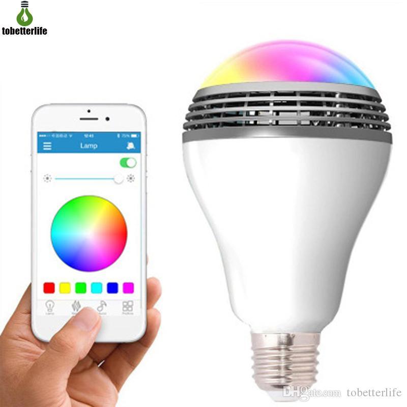 스마트 RGB E27 전구 블루투스 스피커 램프 Dimmable LED 무선 음악 전구 조명 색상 앱 제어를 통해 변경 원격 제어