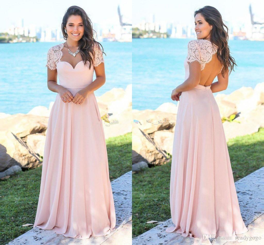 Blush Pink Beach Long Bridesmaid Dresses 2019 Cap Sleeve Sweetheart Lace Chiffon Bohemian Junior maid of honor wedding guest dress