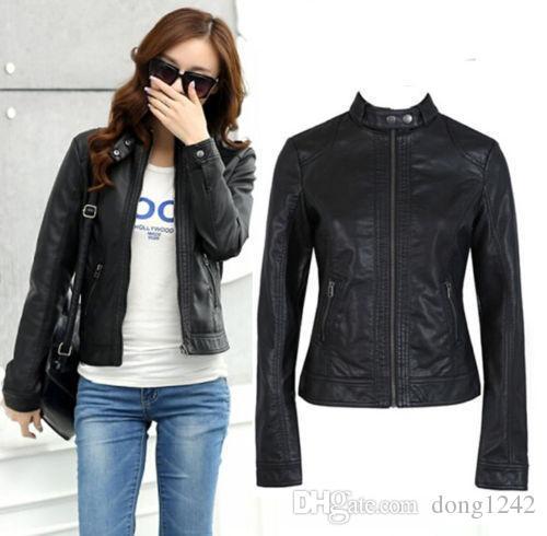 Женская тонкий новый байкер мотоцикл куртка пальто PU мягкая кожа молния черный