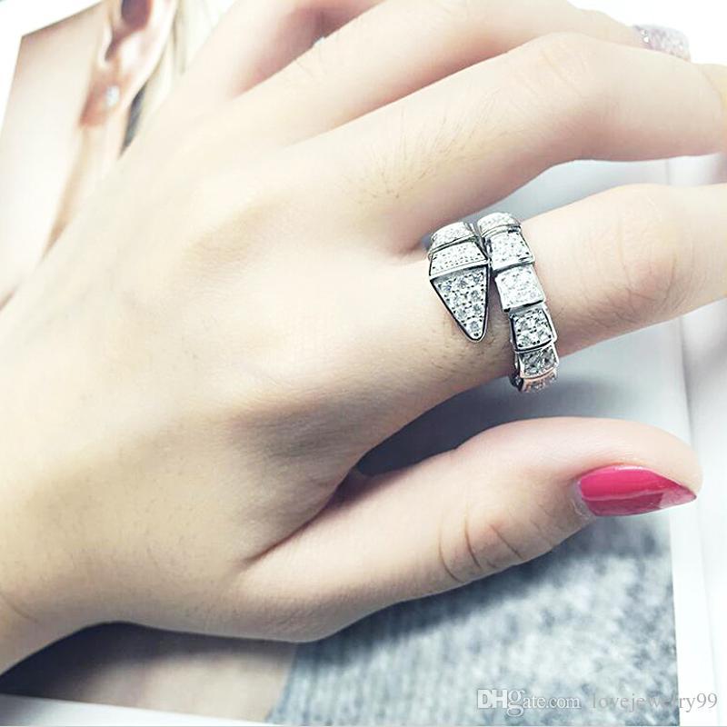 Anello di serpente moda oro bianco riempito micro pavimenta diamante cz anelli di fidanzamento fedi nuziali per le donne regalo gioielli partito nuziale