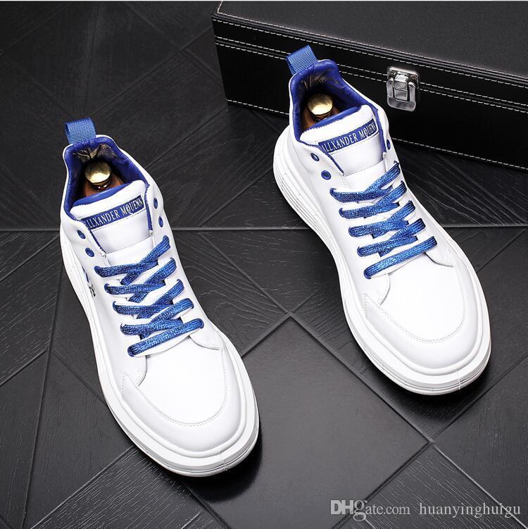 Yeni Bahar Sonbahar Erkek Günlük Ayakkabılar Moda Yüksek Top Mens Sneakers Açık Dantel-up Erkekler Ayakkabı Trend Flats Ayakkabı Y9