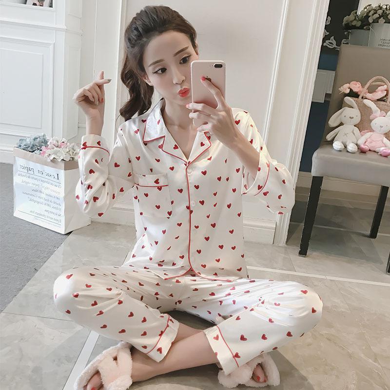 도매 WAVMIT 2018 여성 편안한 실크 잠옷 세트 여자 인쇄 잠옷 긴 소매 잠옷 정장 여자 Nightshirt 세트 Y19042803