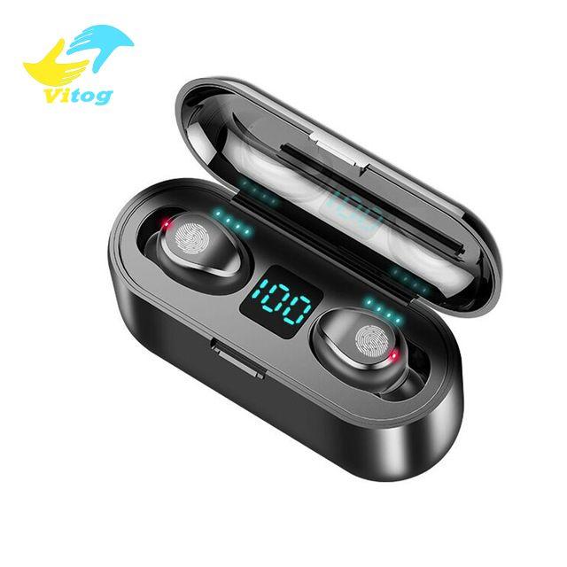 2000mAh Güç Bankası Kulaklık ile Mikrofon ile Vitog F9 TWS Kablosuz Kulaklık Bluetooth V5.0 Kulaklık Bluetooth Kulaklık LED Ekran