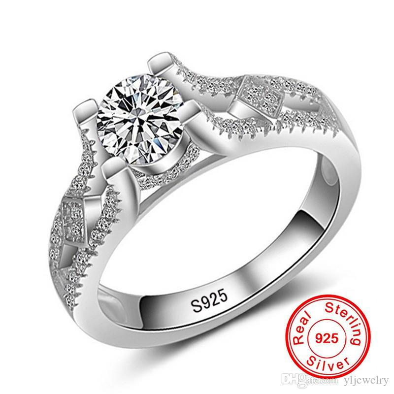 Original Jewelry Fashion Women Solid 925 Sterling Silver Ring Sona CZ Diamant Engagement Wedding Rings For Bride Wholesale RX043