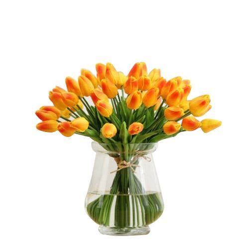 PU Mini Lale Yapay Çiçek Simülasyon Yapay Çiçek Parti Hediye Lale Ev Düğün Dekorasyon Çiçek ücretsiz kargo
