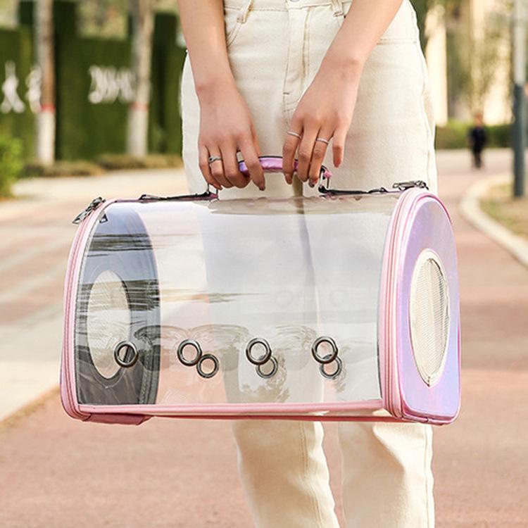 تنفس الحيوانات الأليفة الناقل حقيبة الكتف شفافة القط الناقل المحمولة السفر حبال الناقل الكلب حمل أكياس مقعد السيارة الداعم