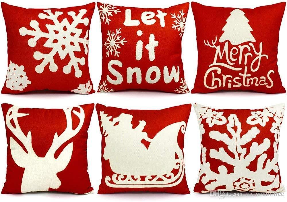 6PCS Almohada de Navidad cubiertas 18x18 decoraciones de Navidad Almohada Cubre banda decorativa de la Navidad Almohada Casos Sofá Interiores Decoración