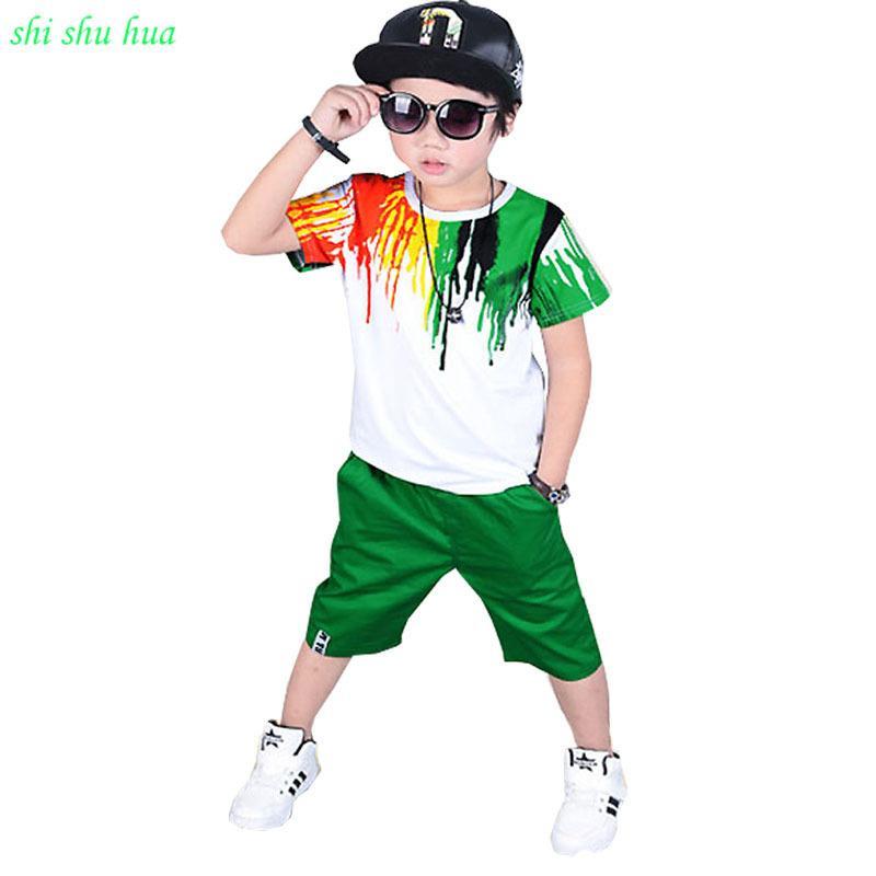 Babykleidung Sommersaison Kinder Kurzarm T-shirt + kurze Hosen Regenbogendruck Mode Sportanzug 3-12 Y Kinderkleidung J190514