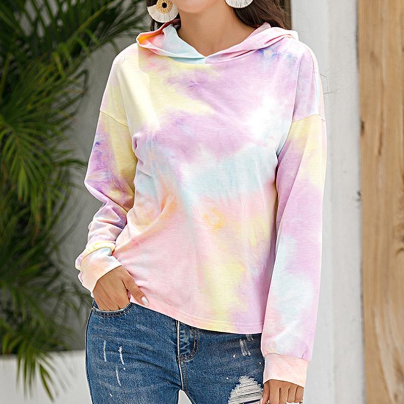 MJARTORIA Hoodies Multicolor Casual Women Tie Dye Print Hooded Sweatshirt 2020 Autumn Tie Dye Long Sleeve Hoodies