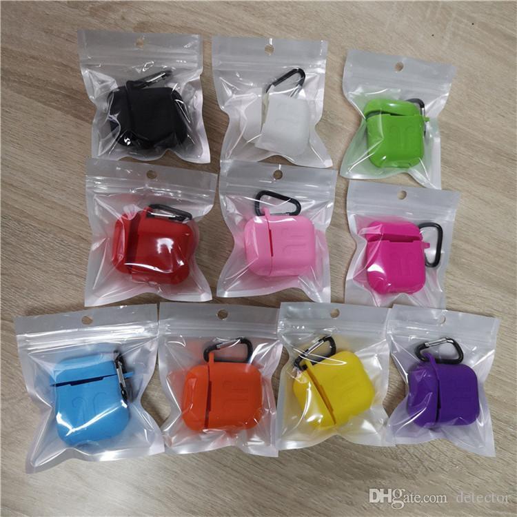 Per di Apple Airpods custodie in silicone morbido ultra sottile Protector Airpod copertura Earpod caso anti-goccia con il gancio scatola al minuto