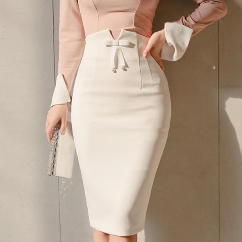 Women Fashion New Bowtie Empire Office Ladies Elegant Pencil Slim Mid White Skirt Femme Jupe Falda Plus Size Q190508