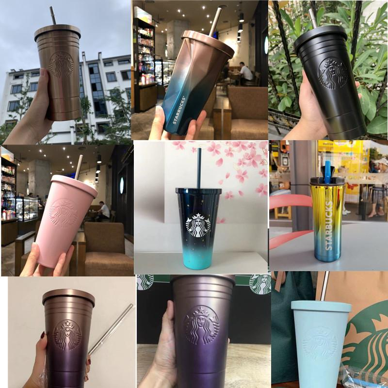 20 Styles 16OZ Starbucks Stainless Steel Cups With Straw and Cover Water Bottle INS Ice Cube Gradient Cup Car Mug Customizable AN3338