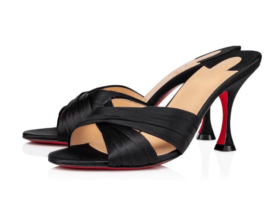 Donne rosse estate sandali inferiori cinghie all'aperto casual Nicol schiena piatta impreziosito bande raso di crepe nero Progettato vestito dalla festa nuziale