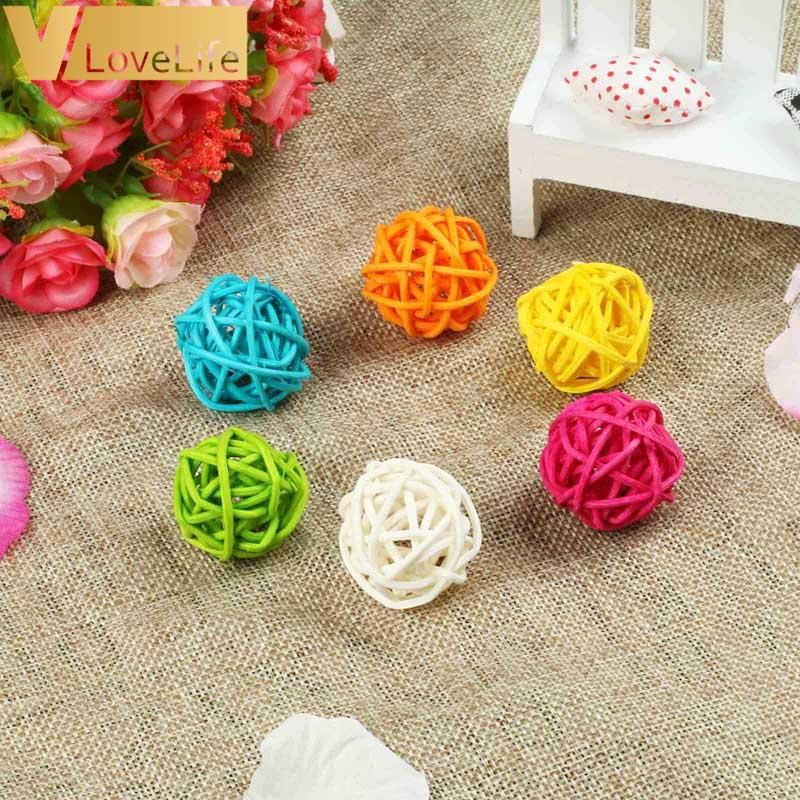 10pcs/Lot 3cm Baby Shower Rattan Ball New Year Decoration Rattan Wicker Balls Party Decoration DIY Sepak Takraw Balls