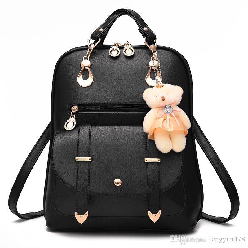 Fashion Women Leather Backpacks Designer Shoulder Bag Wallet Ladies Travel Bags Bear Pendant Satchel Girl Knapsack Purse Student Schoolbag