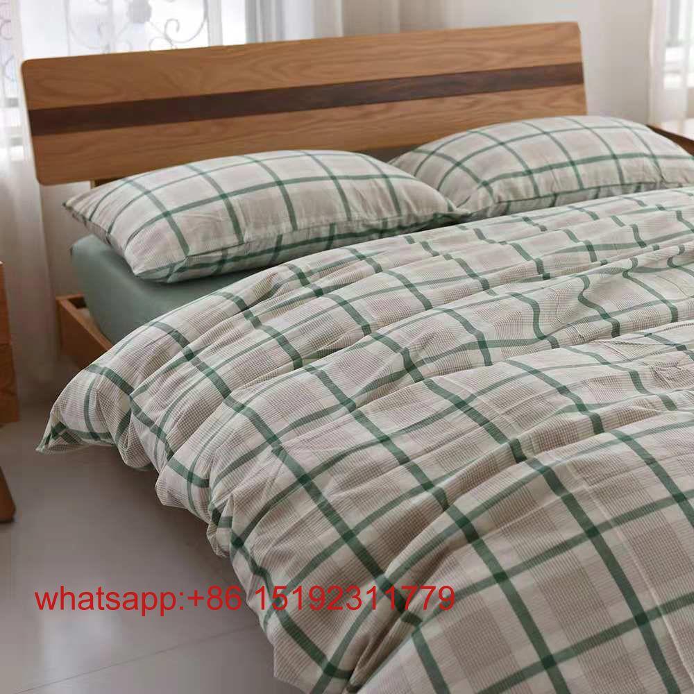 1,8 m Bettwäsche-Set aus 100% gewaschener Baumwolle und Streifen, bestehend aus Laken, Kissenbezug und Bettbezug