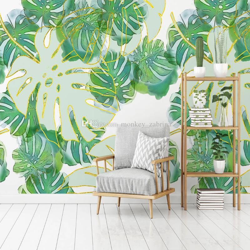 hoja de plátano tropical del papel pintado de oro deja Mural Art Studio wallpaper Rolls muchachas de los cabritos dormitorio TV de la pared de fondo que cubre decoración