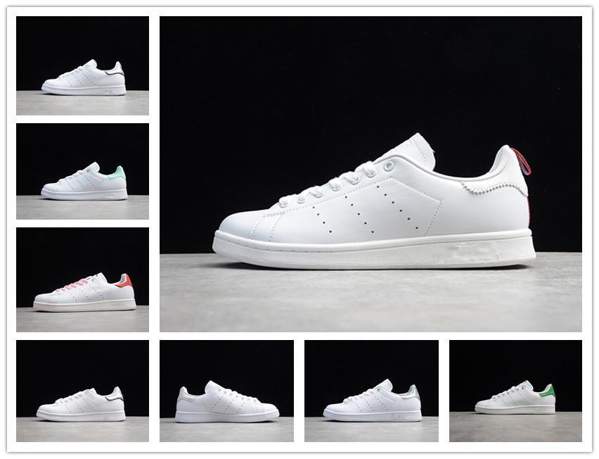 Venta en línea Originales Stan Smith zapatos de mujer de los hombres de cuero ocasionales baratos Superstars monopatín de perforación Blanco Negro Verde Azul Calzado deportivo