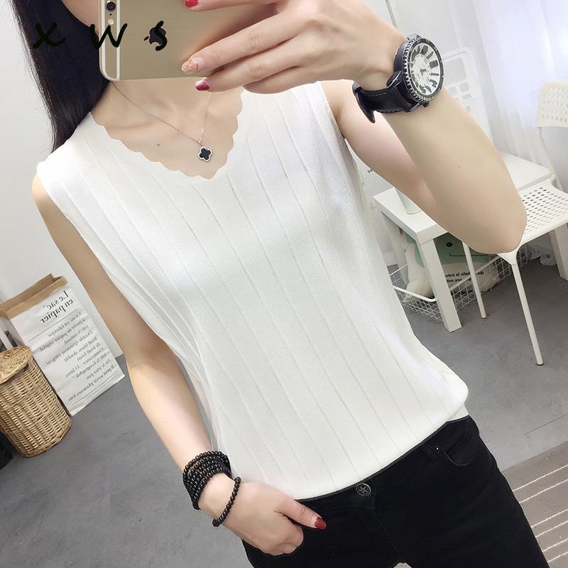 Nuovo 9 estate maglione donne sottile maglia Vest magliette casual Canotta Sling Tops Femela Nero Bianco Colete Feminino