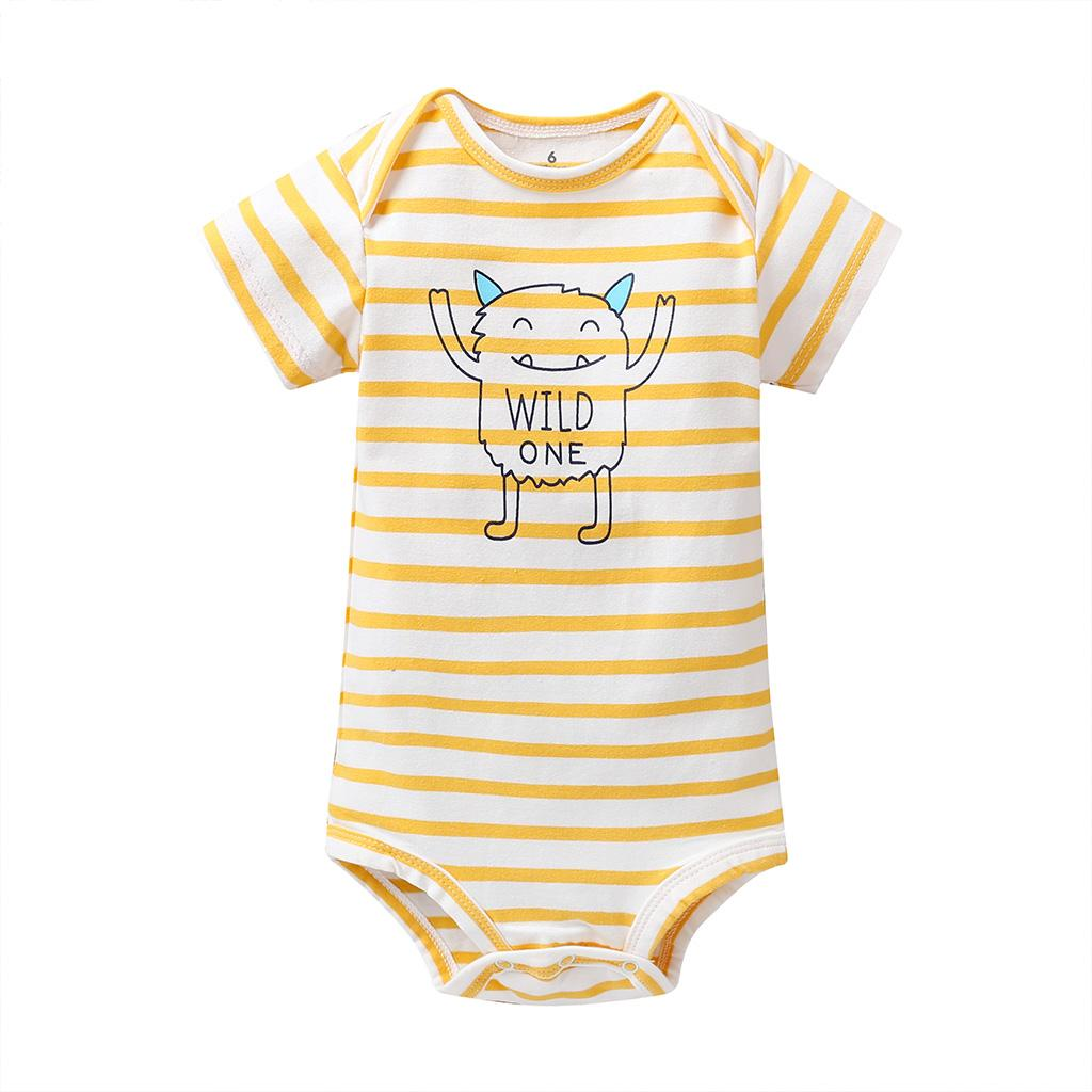 Newborn Baby Boys Bodysuit Short-Sleeve Onesie Creative Purse Print Jumpsuit Spring Pajamas