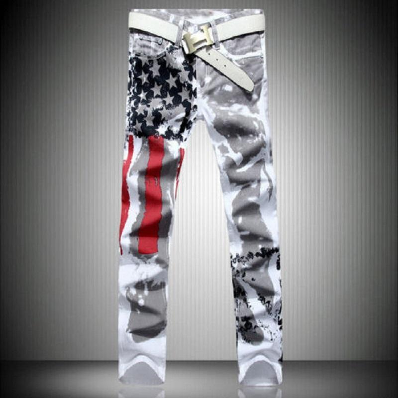 Homens Plus Size Chegada Nova Moda jeans reta Fino Casual calças jeans Pants Bandeira impressão Calças justas