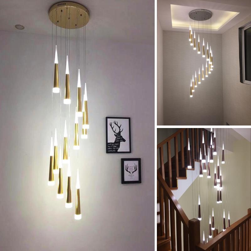 LED-Ringleuchter-Lampe Wohnzimmer Schlafzimmer Küche Treppe Kronleuchter Indoor-Hauptdekor lange Treppe Kronleuchter Beleuchtung
