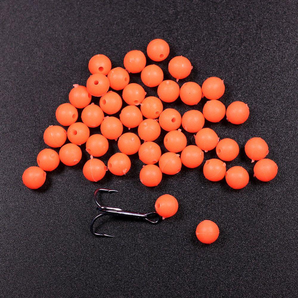 Fishing Glowing Beads Oval Luminous Rubber Sink Treble Fishing Tackle Hooks