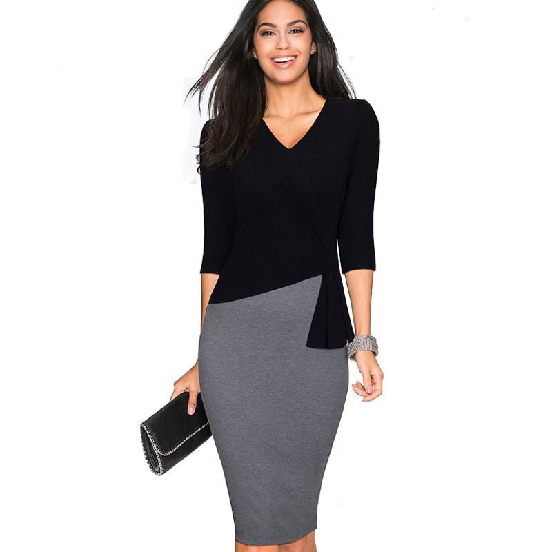 Mulheres Roupa Verão Vestido madura elegante V Neck Vestidos Wiggle Vestido Office Work Bodycon 3 4 Sleeve Bainha Mulheres de Negócios vestido B333