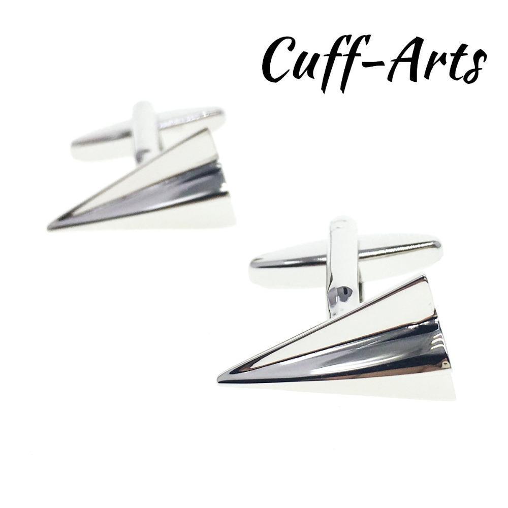 Cuffarts C10235 tarafından Erkekler Mancuernas ile Hediye Kutusu için Erkekler Kağıt Uçak Gümüş Gömlek Kravat Klip Hediyeler kol düğmesi