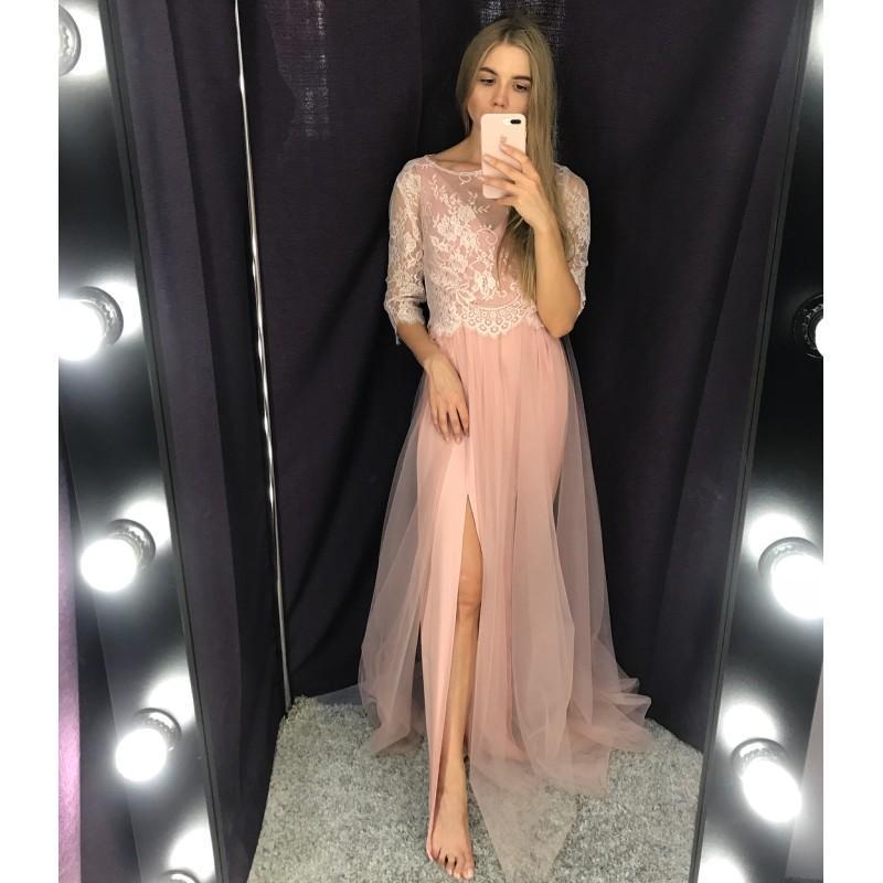 2020 nuevo de la manera ocasión especial ilusión vestidos de fiesta vestidos de Alta Parte del muslo Slits vestidos de dos estilos separados blusa del cordón