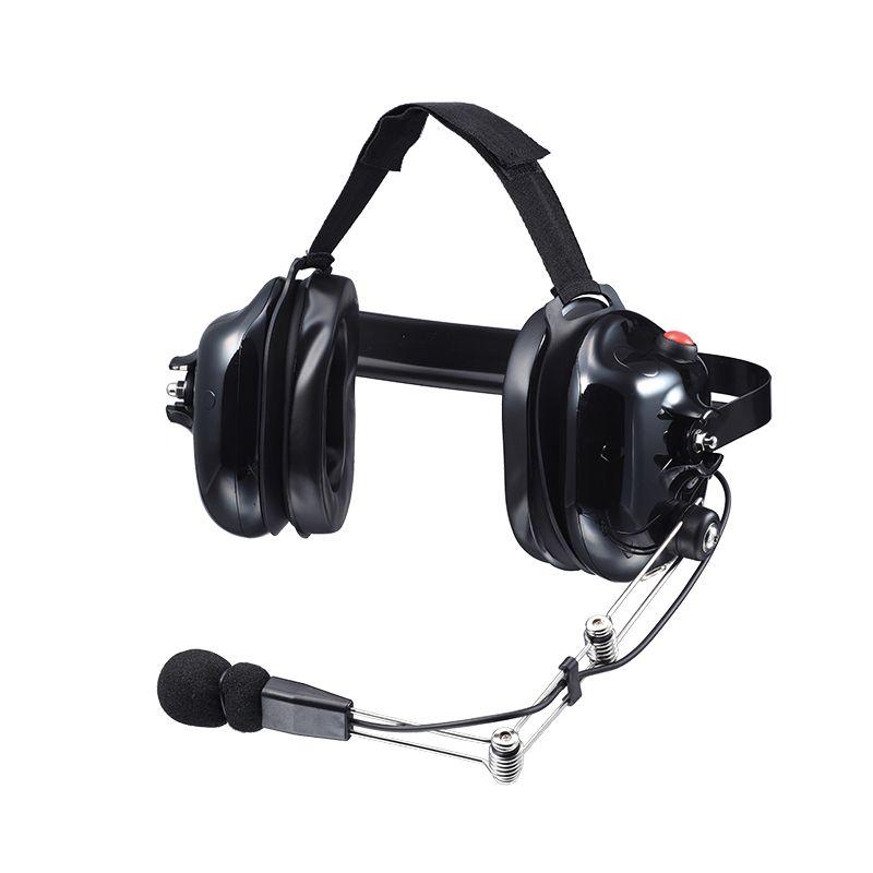 Detrás de la cabeza radio de dos vías auriculares con micrófono electret con cancelación de ruido, Push to Talk y entrada jack de 3,5 mm para reproductores de música MP3