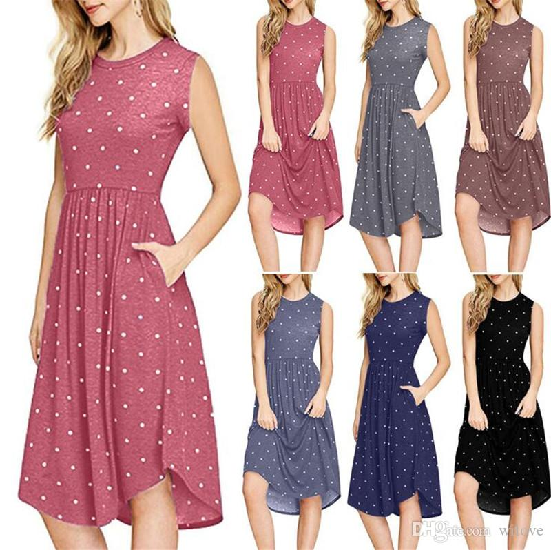 Новый Dot Платье Без Рукавов 6 Цветов Лето O Шеи Горошек Повседневная Женская Высокая Талия Ретро Пляж Платья