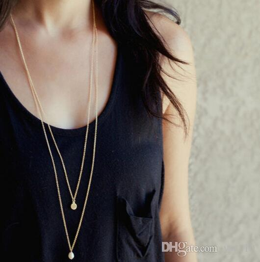 Gold Alloy Round Pendant Necklace for Women Jewelry Simple Female Long Chain Necklace Cheap Multi-layer Collier 2018 Wholesale