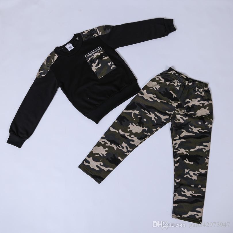 Kinderkleidung Boy Brief Hoodie-T-Shirt Tops + Camo Hosen 2pcs Kind-Junge-Herbst-Winter-Kleidung stellt Kleinkind Outfits 2-10Y