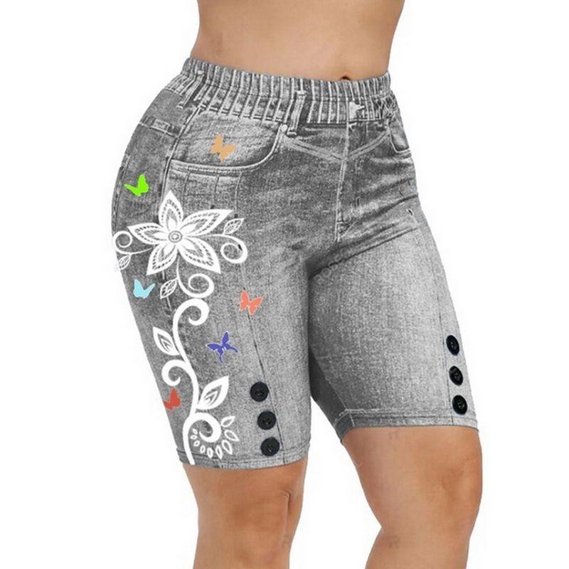 Women Summer High Waist Denim Button 3D Print Butterfly Jeans Plus Size Women Shorts Femme Push Up Skinny Denim Shorts