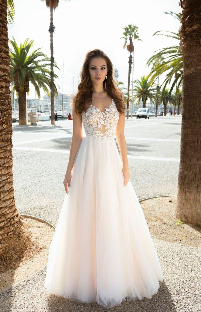 Robe de mariee New Longo Vestidos V-Neck mangas A-Line Tribunal Trem apliques Tulle Noiva Vestidos Vestidos de novia Gelinlik