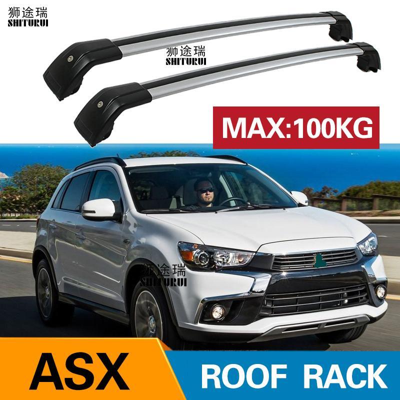 Barras de techo para Mitsubishi ASX RVR 2010 + 2014 2015 2016 2017 aleación de aluminio lateral barras transversales rieles barras de techo portaequipajes
